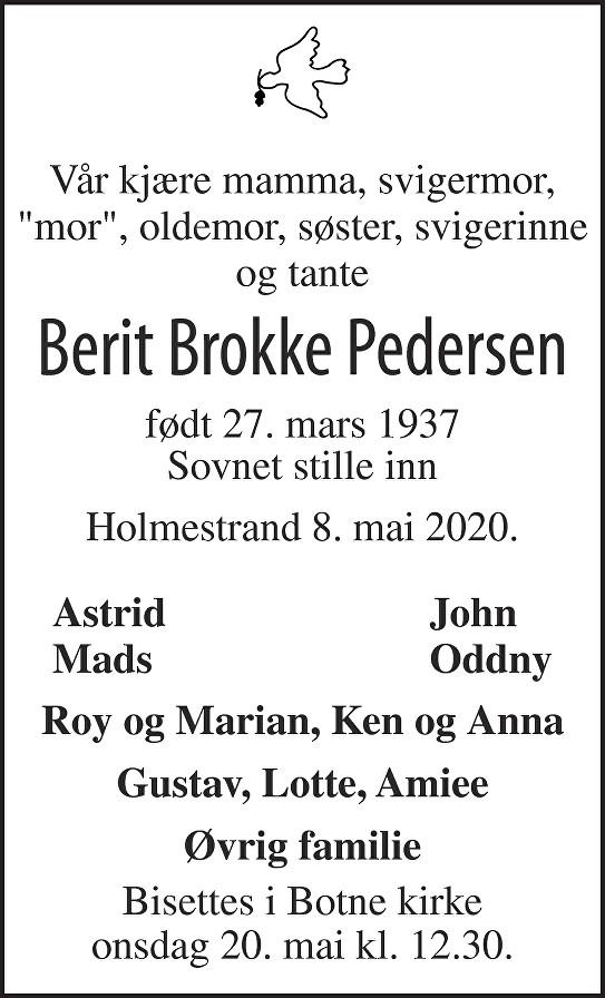 Berit Brokke Pedersen Dødsannonse