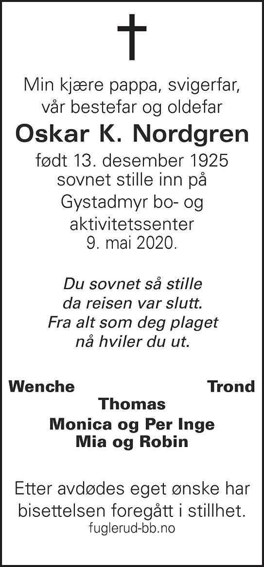 Oskar Konrad Nordgren Dødsannonse