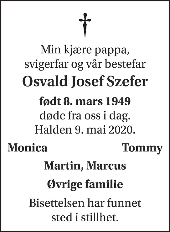 Osvald Josef Szefer Dødsannonse