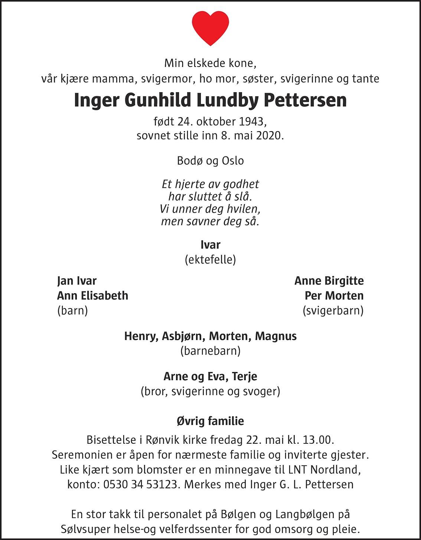 Inger Gunhild Lundby Pettersen Dødsannonse