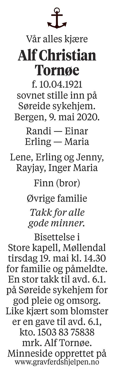 Alf Christian Tornøe Dødsannonse