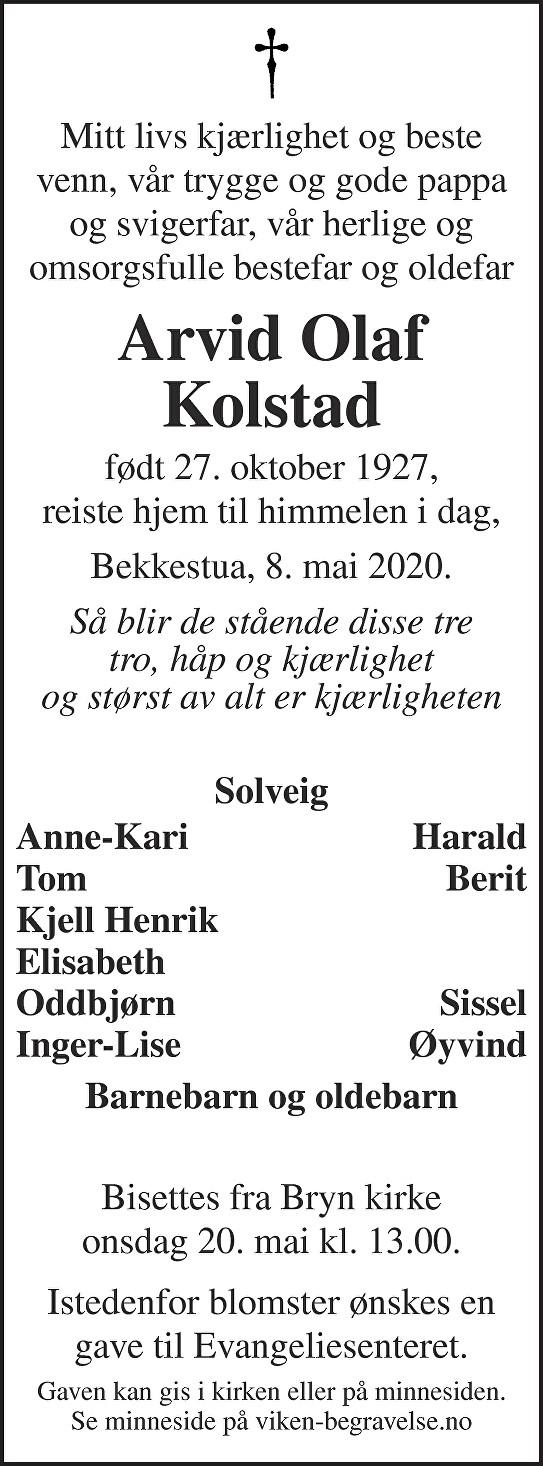 Arvid Olaf Kolstad Dødsannonse