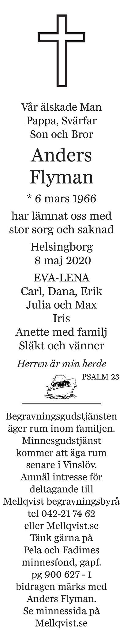 Anders Flyman Death notice