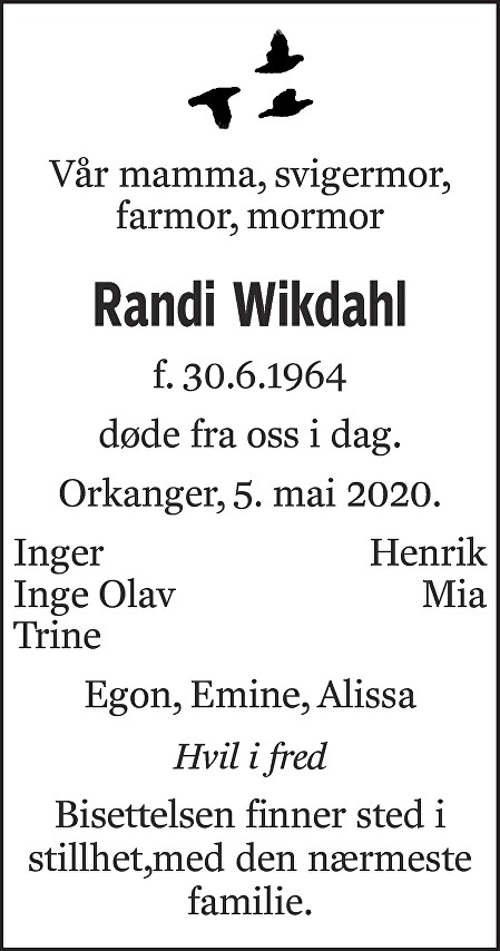 Randi Wikdahl Dødsannonse