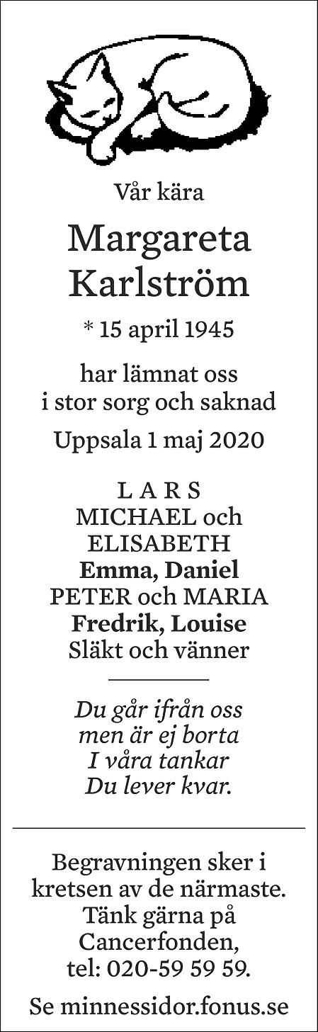 Margareta Karlström Death notice