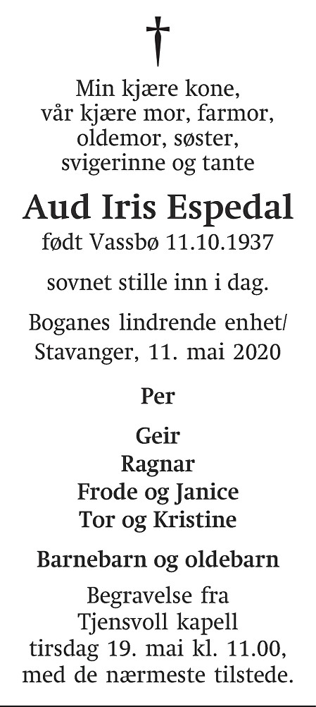 Aud Iris Espedal Dødsannonse