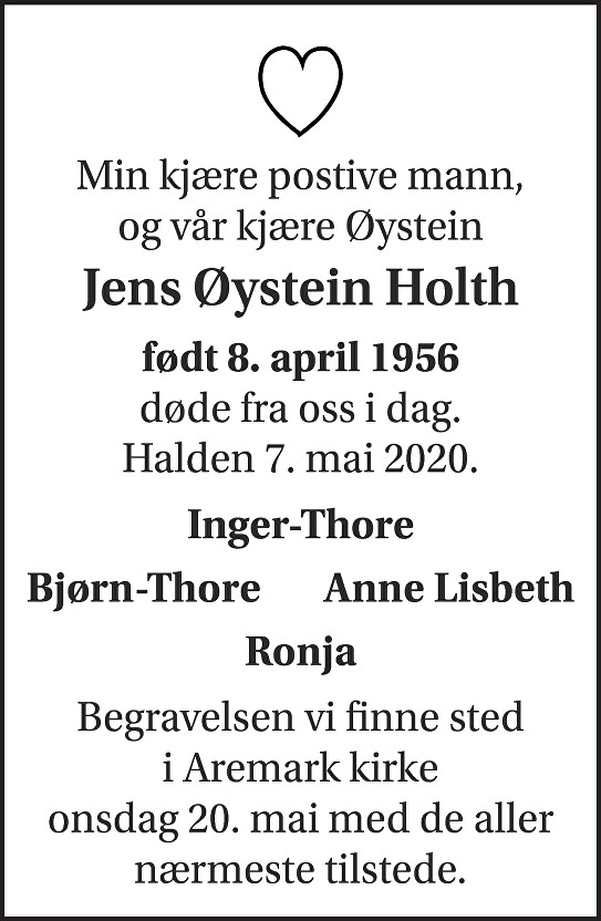 Jens Øystein Holth Dødsannonse