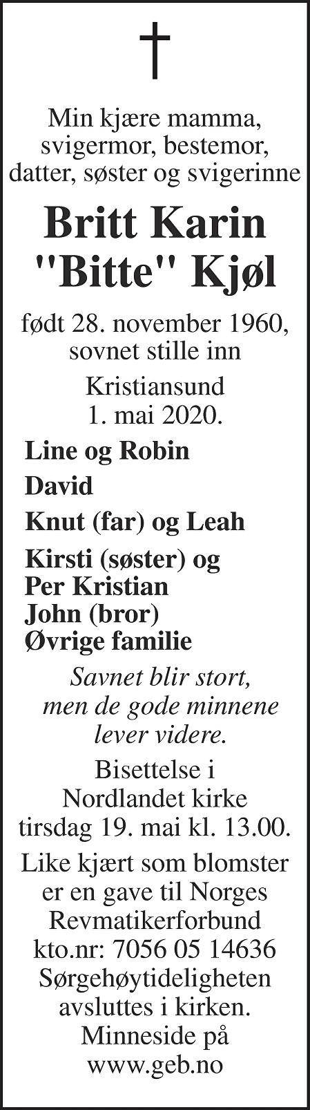 Britt Karin Kjøl Dødsannonse