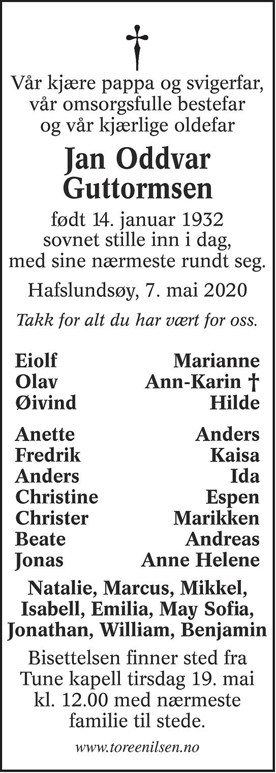 Jan Oddvar Guttormsen Dødsannonse