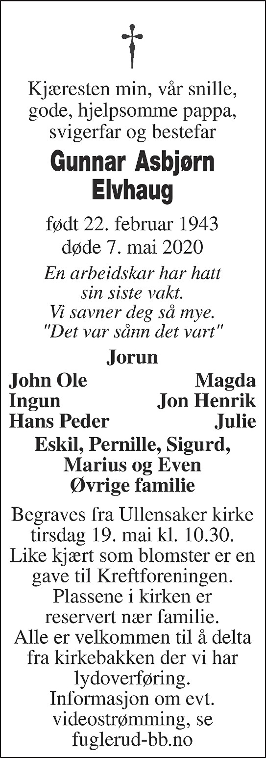 Gunnar Asbjørn Elvhaug Dødsannonse