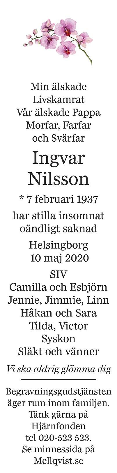 Ingvar Nilsson Death notice