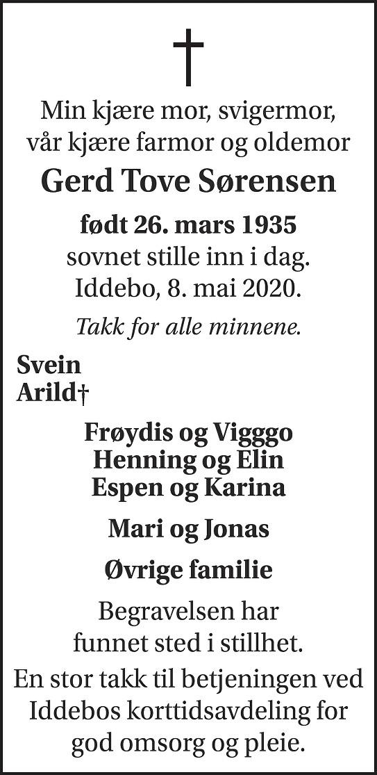 Gerd Tove Sørensen Dødsannonse