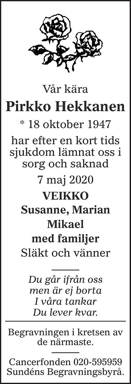 Pirkko Hekkanen Death notice
