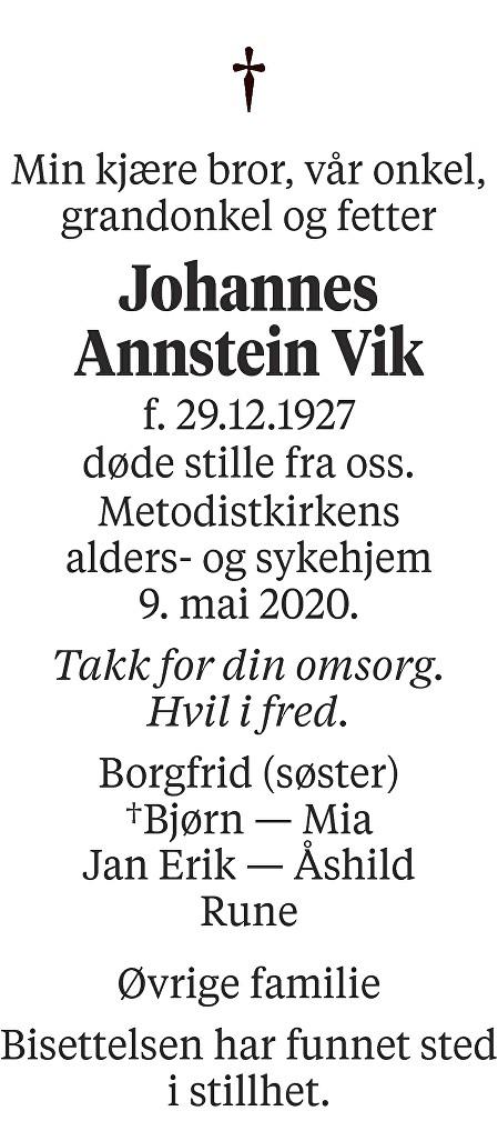 Johannes Annstein Vik Dødsannonse