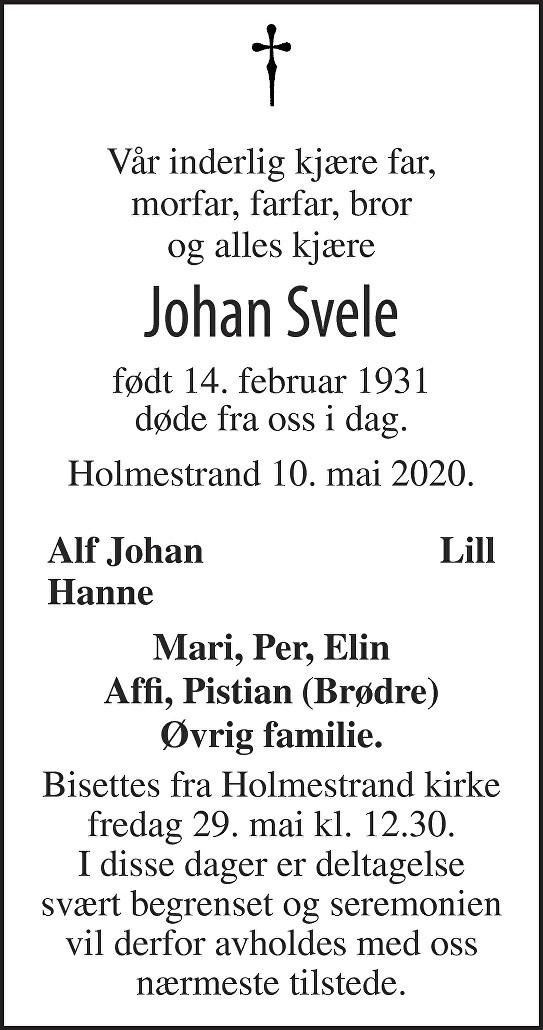 Johan Svele Dødsannonse