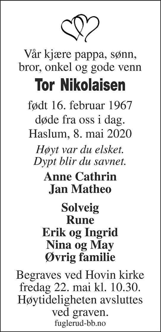 Tor Nikolaisen Dødsannonse