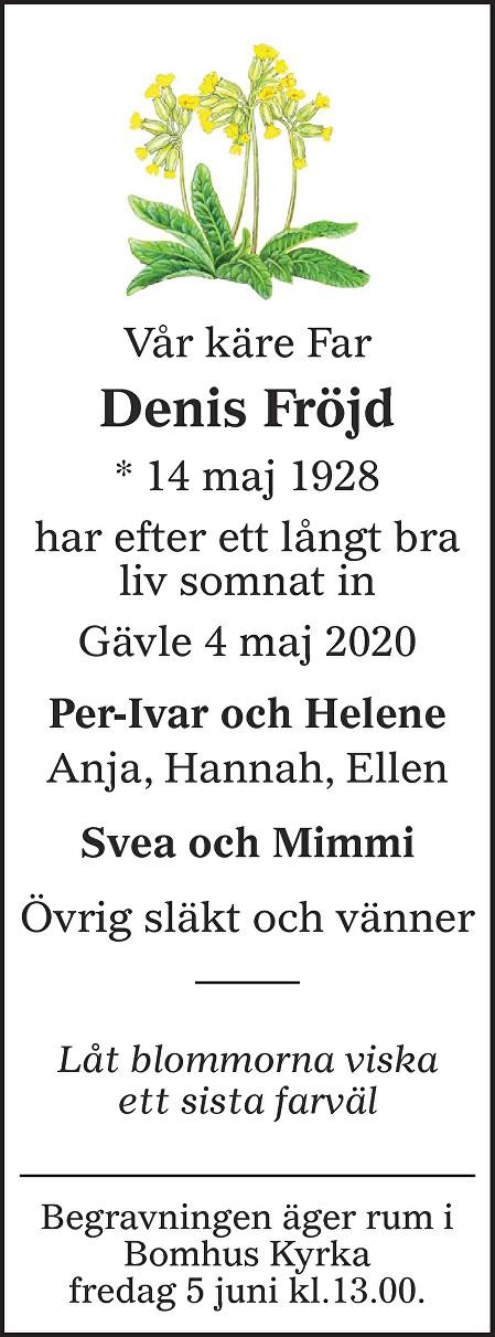 Denis Fröjd Death notice