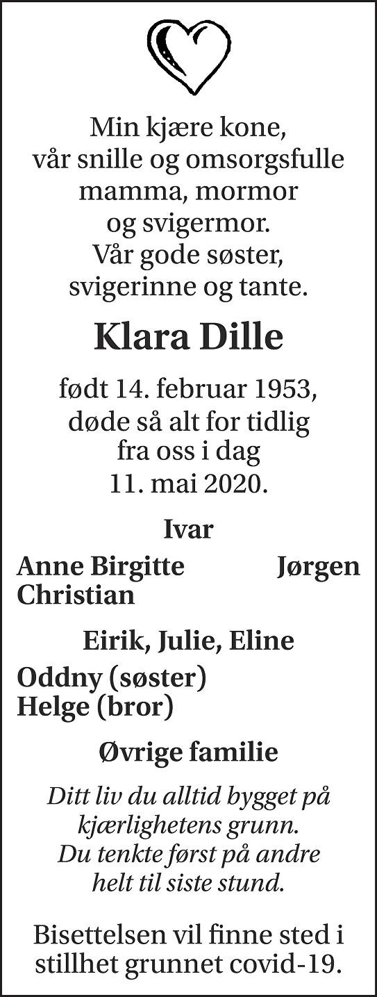 Klara Dille Dødsannonse