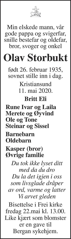 Olav Storbukt Dødsannonse