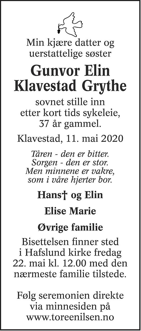 Gunvor Elin Klavestad Grythe Dødsannonse