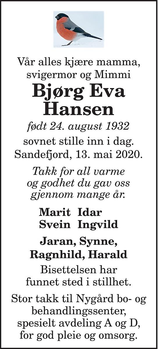 Bjørg Eva Hansen Dødsannonse