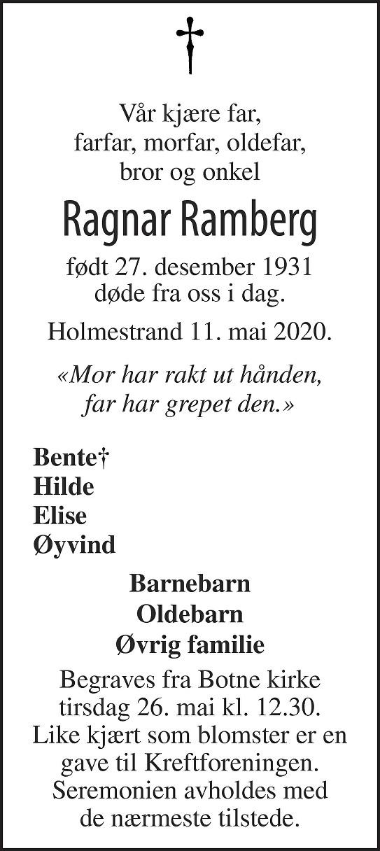 Ragnar Ramberg Dødsannonse