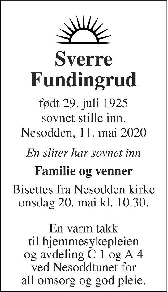 Sverre Fundingrud Dødsannonse