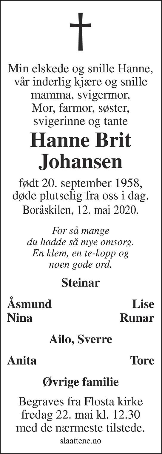Hanne Brit Johansen Dødsannonse