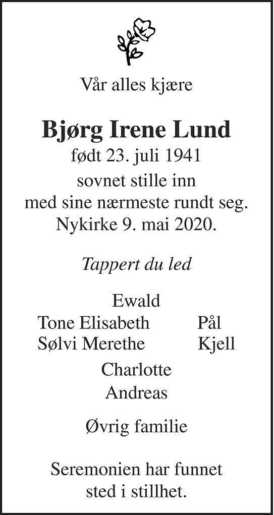 Bjørg Irene Lund Dødsannonse