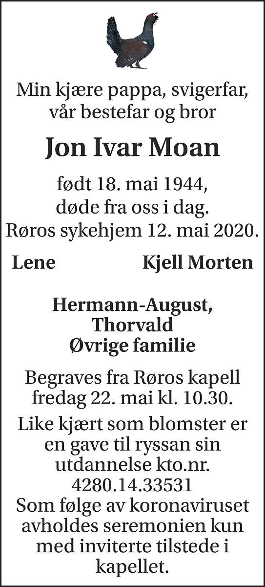 Jon Ivar Moan Dødsannonse