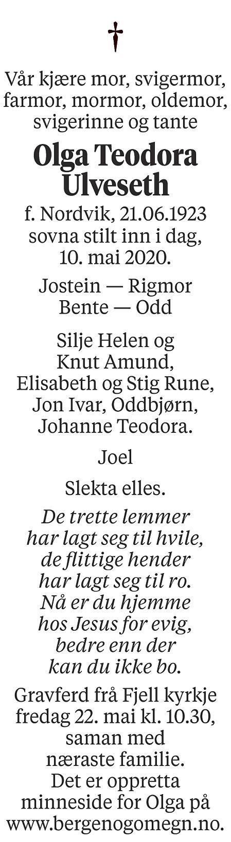 Olga Teodora Ulveseth Dødsannonse