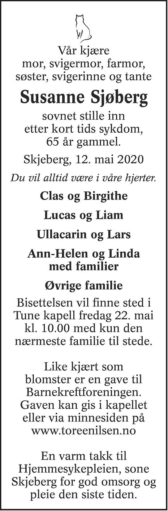 Susanne Berit Ann Katrin Sjøberg Dødsannonse