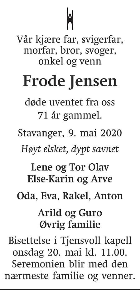 Frode Jensen Dødsannonse