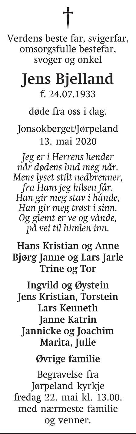 Jens Bjelland Dødsannonse