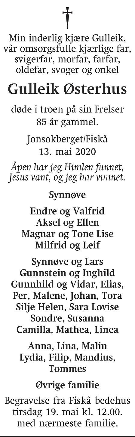 Gulleik Østerhus Dødsannonse