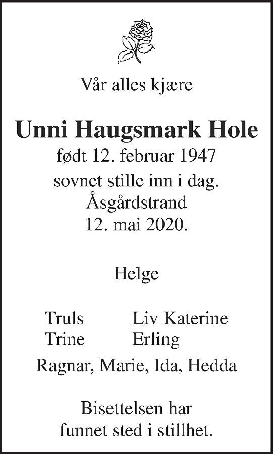 Unni Haugsmark Hole Dødsannonse