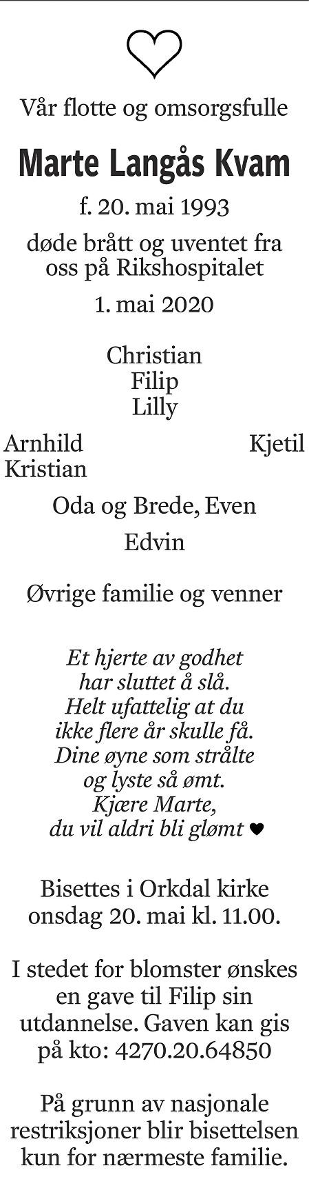 Marte Langås Kvam Dødsannonse
