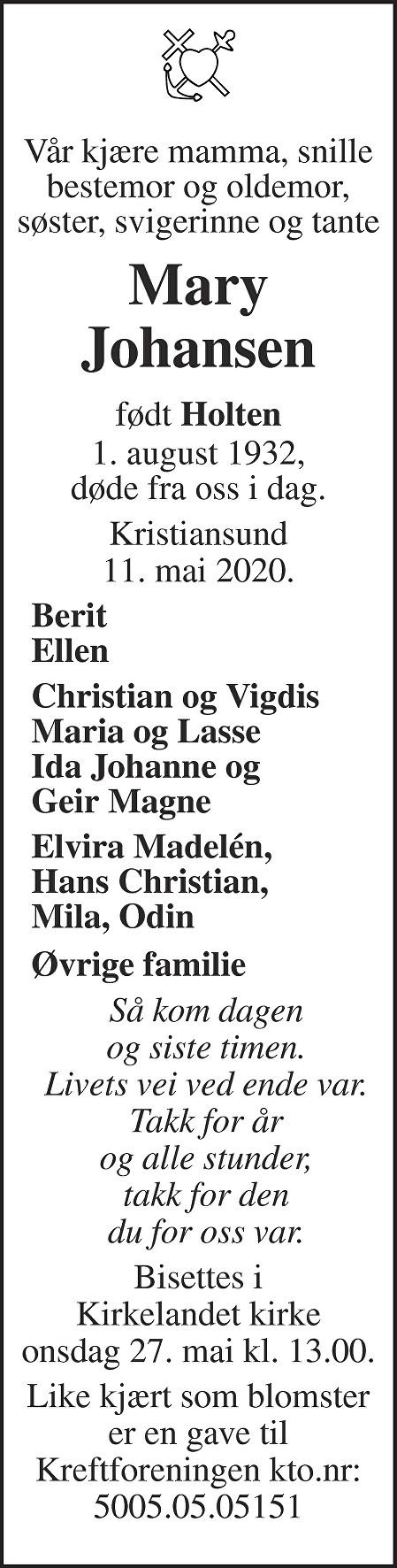 Mary Johansen Dødsannonse