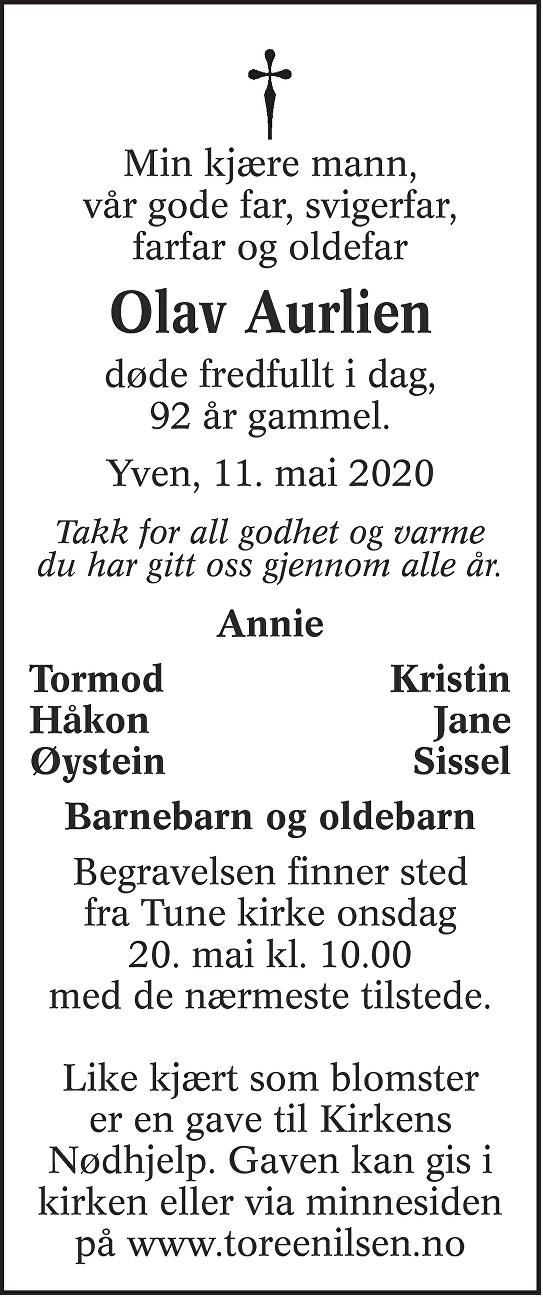 Olav Aurlien Dødsannonse