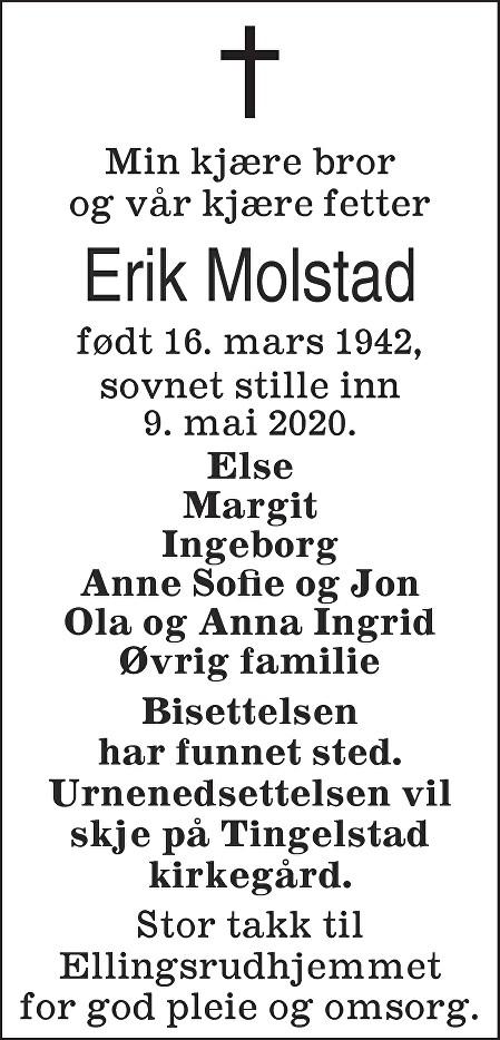 Erik Molstad Dødsannonse