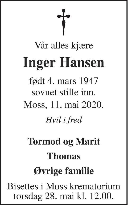 Inger Hansen Dødsannonse