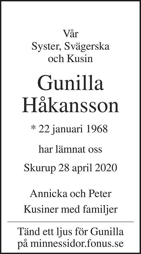 Gunilla Håkansson Death notice