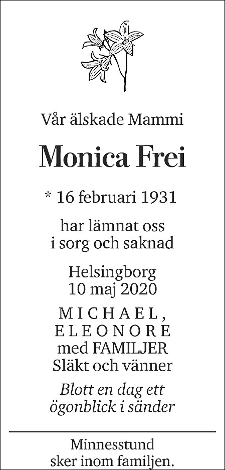 Monica Frei Death notice