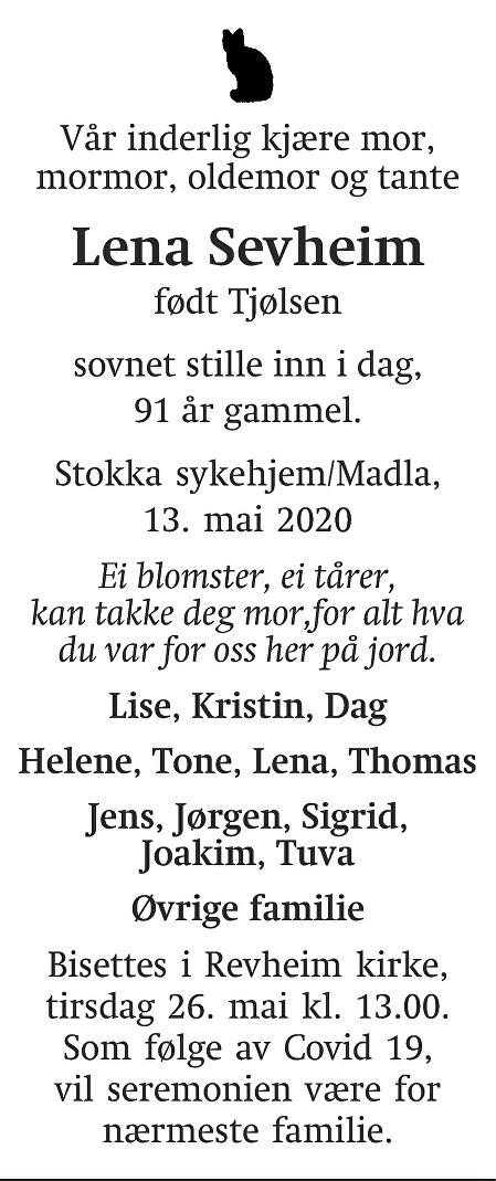 Lena  Sevheim Dødsannonse