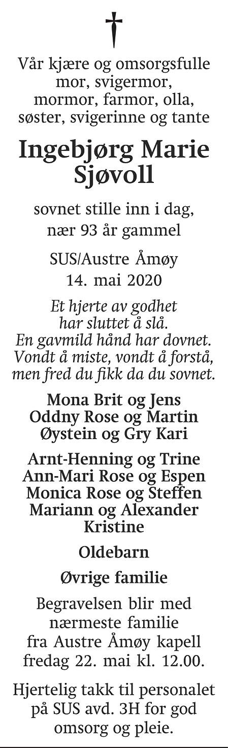 Ingebjørg Marie Sjøvoll Dødsannonse