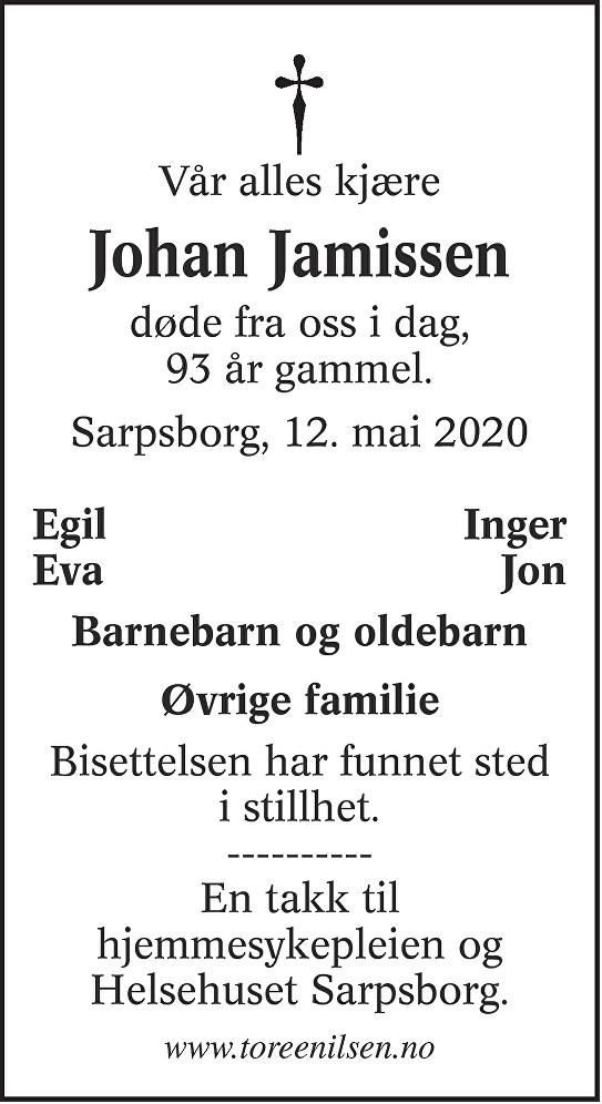 Johan Jamissen Dødsannonse