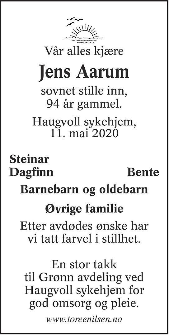 Jens Aarum Dødsannonse