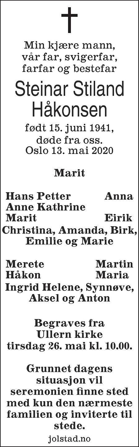 Steinar Stiland Håkonsen Dødsannonse
