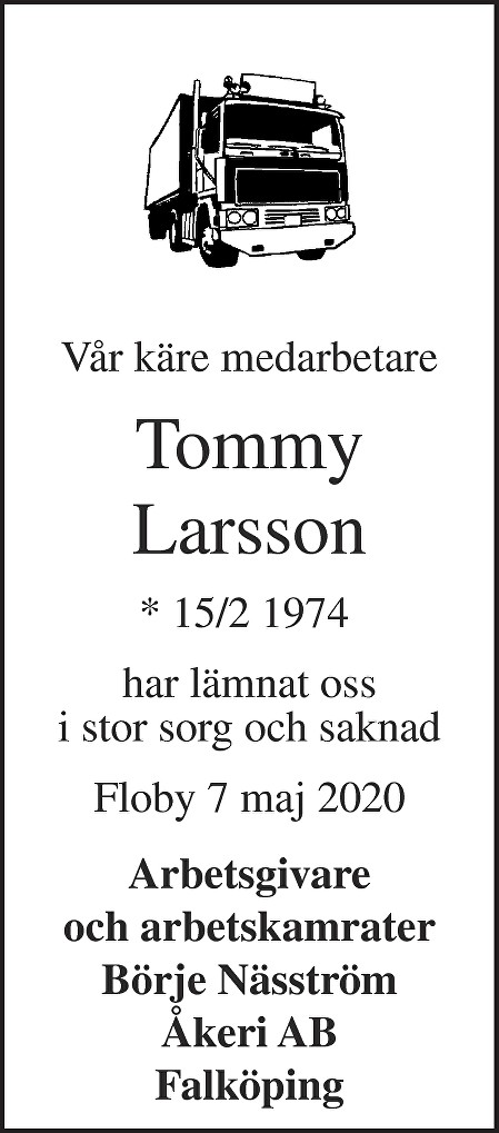 Tommy Larsson Death notice