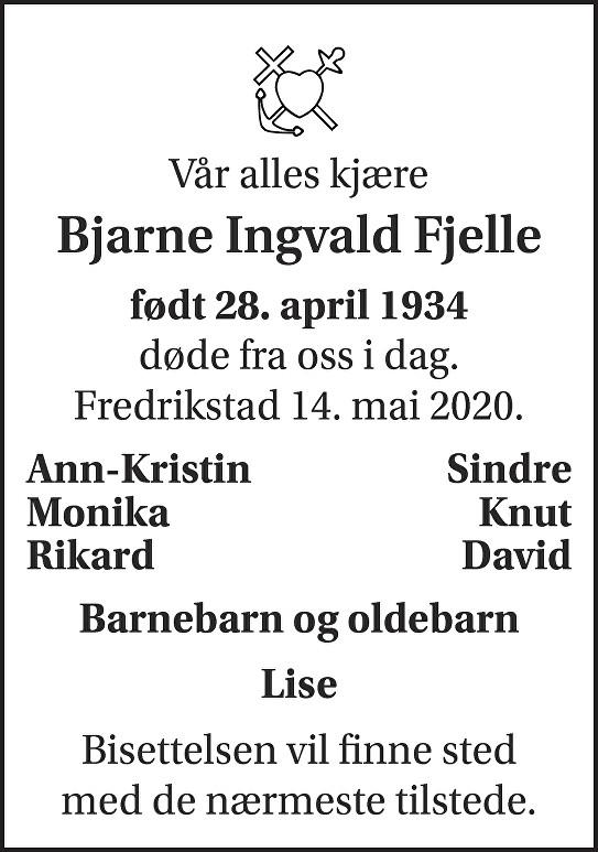 Bjarne Ingvald Fjelle Dødsannonse